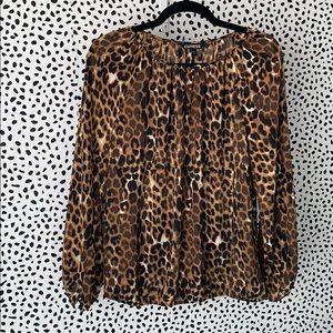 Express Leopard print long sleeve shirt
